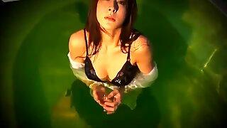 Stupid Japanese bitch Rika Kawamura takes shower in dress