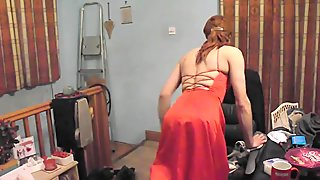 More Crossdressing in a sexy red prom dress