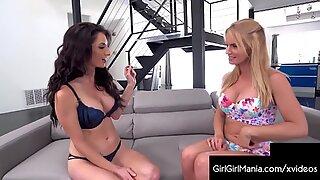 Lingerie Lesbians Rachael Cavalli &amp_ Silvia Saige Eat Pussy!