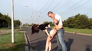 Beautiful Daring Woman Rides On The Street