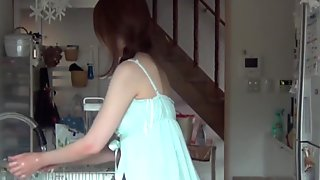 Asian teen solo rubbing
