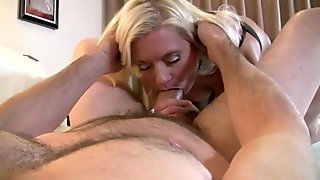 Cougar sucks & fucks very thick cock