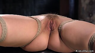 Hairy and hogtied blonde punished