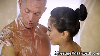 Amazing thai babe Amber Snow rides oiled Marcus Londons cock