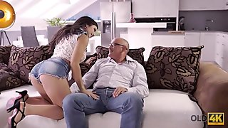 OLD4K. Young Latina girl approached fat old guy hoping to...