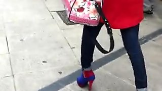 Sexy blond high heels candid walking