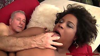Ebony BBW having a taste of cum after riding dick