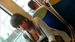 Woman cleavage voyeur in train